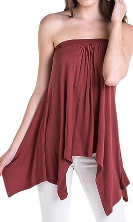 5046db2a9b Handkerchief Asymmetrical Flared Loose Fit Strapless Tunic Shirt Tube Top