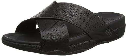 ee925eb25403 Fitflop Men s s Surfer Perf Mens Leather Slide Open-Toe Sandals Black