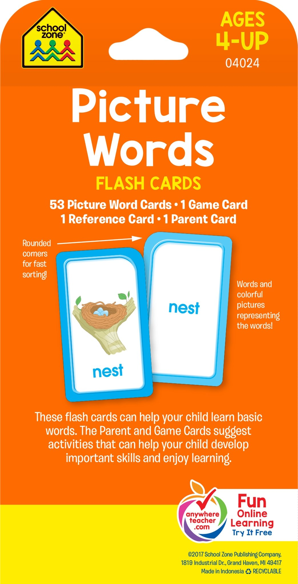 school zone picture words flash cards ages 4 and up pre k and up word picture recognition hand eye coordination and more school zone staff