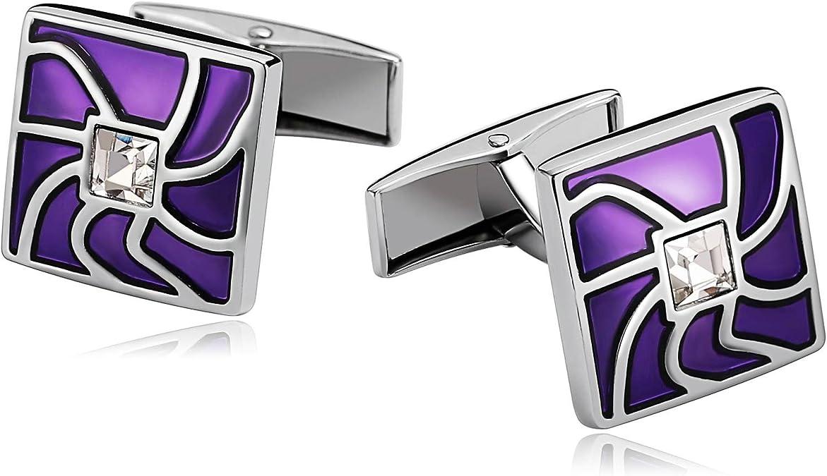 AueDsa Gemelos Camisa Acero Inoxidable para Hombres Púrpura Gemelo Cuadrado Circonita Blanca: Amazon.es: Joyería