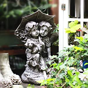 NuAnYI Boy Girl Couple On Rock with Umbrella Garden Resin Sculpture Statue Decorative Ornament