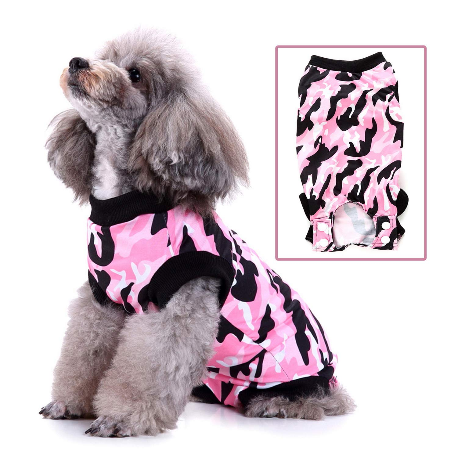 Zunea Pet Dog Cat Recovery Suit for After Surgery Cone Alternative Camo Soft Cotton Injured Care Protection Puppy Clothes Skin Diseases Prevent Lick Weaning Suit for Female Male Small Dogs Pink M by Zunea