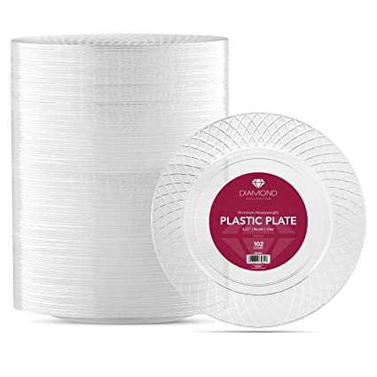 Prestee COMINHKPR125648 Diamond Cut Disposable Crystal Clear Round Plastic Plates 6.25-Inch (102  sc 1 st  Amazon.com & Amazon.com: Prestee COMINHKPR125648 Diamond Cut Disposable Crystal ...