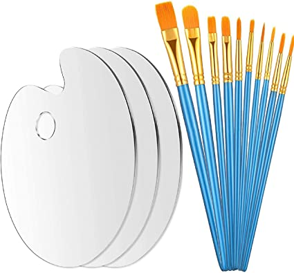 3 Pcs Acrylic Artist Paint Palette Oval Transparent Paint Palette Rectangular Non-Stick Drawing Board with Protective Film for Artist Oil Paint Watercolor Painting DIY Art Craft