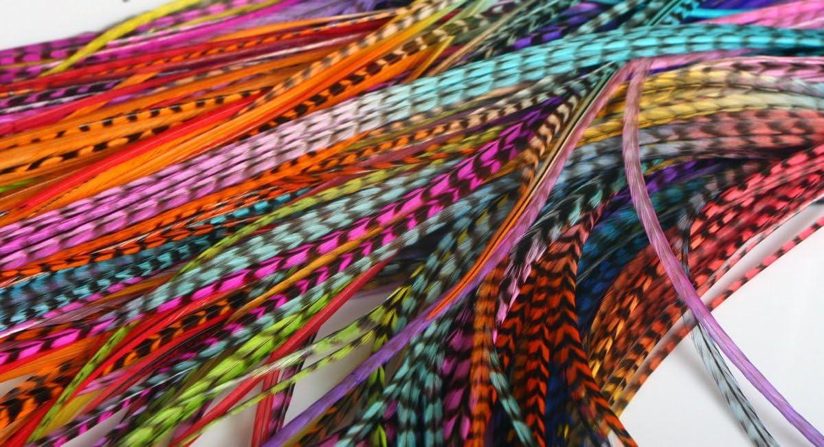 La Beaute para todos 50Extensions plumas XL 100% natural para cabello + anillos offerts