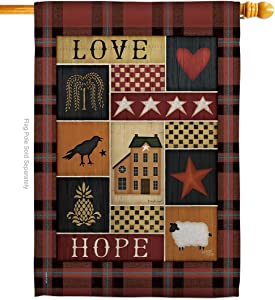 Primitive Collage Love Hope House Flag Country Living Farm Western Barn American Rustic Cowboy Rural Ranch Small Decorative Gift Yard Banner Made in USA 28 X 40