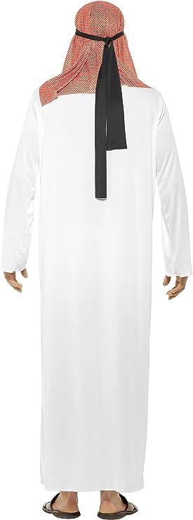 Smiffys-24805M Disfraz de jeque, con túnica Larga y Tocado, Color ...