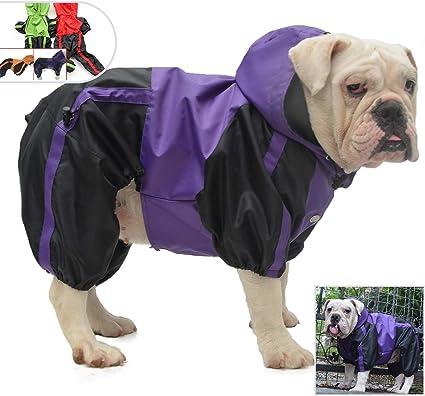 lovelonglong American Bully Pitbull Dog Hooded Raincoat Bulldog Rain Jacket Poncho Waterproof Clothes with Hood Breathable 4 Feet Four Legs Rain Coats for Pugs English French Bulldog Orange B-L