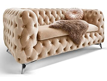 Chesterfield Sofa Couch Stoff Samt 3 Sitzer 2 Sitzer Sessel 1 Sitzer ...