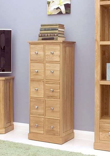 baumhaus mobel oak multi drawer dvd cd storage chest