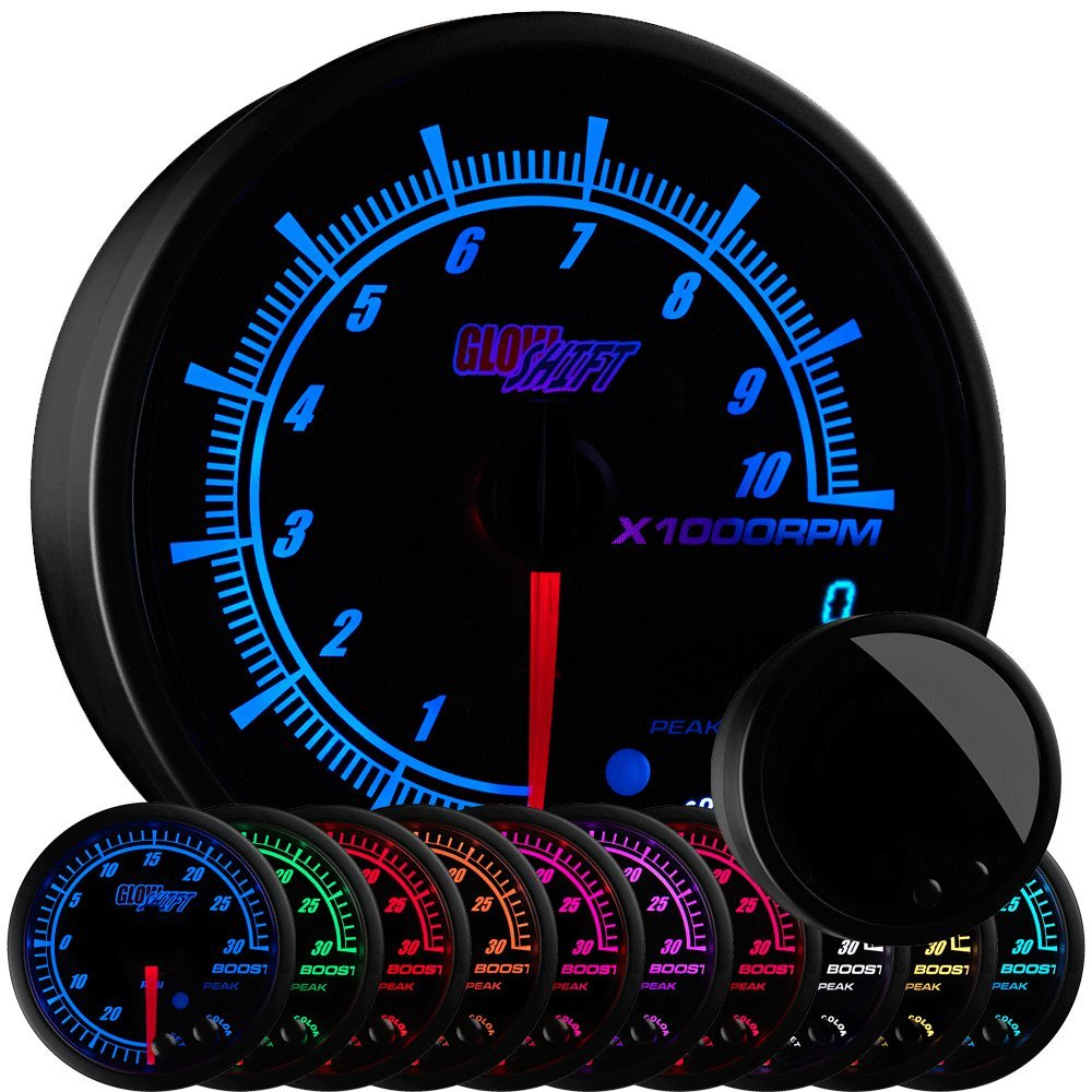 GlowShift Elite 10 Color 10,000 RPM Tachometer Gauge - Includes Shift Light - Mounts in Custom Dashboard - For 1-10 Cylinder Gas Powered Engines - Black Dial - Tinted Lens - Peak Recall - 3-3/4'' 95mm