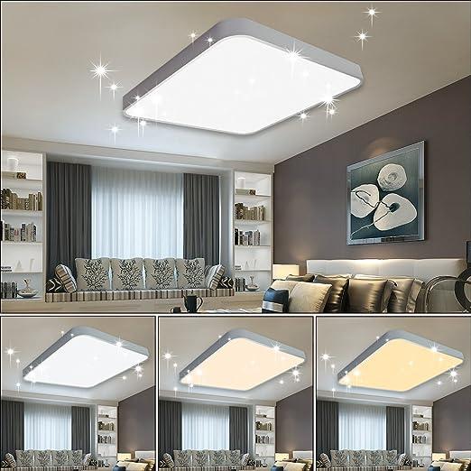 Vgo plafón LED salón lámpara de cocina Starlight efecto techo iluminación lustre dormitorio comedor de bajo consumo (60W Cuadrado Cambio De Color)