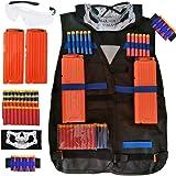 Kids Tactical Vest, VA AI Tactical Vest Jacket Kit for Nerf Gun N-Strike Elite Series with Seamless Face Mask & Goggle 1Pcs 8-Dart Wrist Band,2Pcs 12-Dart Quick Reload Clips,40Pcs Darts Bullets