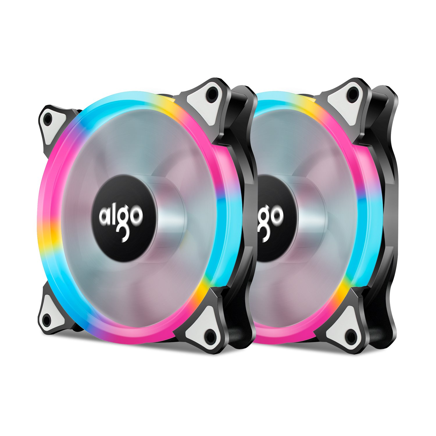 Aigo, Pack of 2 Rianbow120mm LED Ring FanCase Fan Silent Sleeve Bearing PC Cooling Neon Quite Clear Case Fan Cooling Cooler Mod 4 Pin/3 Pin for Computer Cases