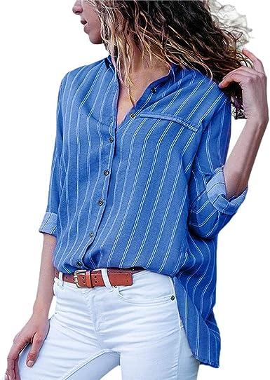YUTING Blusa para Mujer OtoñO Primavera Nueva Mejor Venta De Moda Casual De Manga Larga Color Block Stripe Button Camisetas Tops: Amazon.es: Ropa y accesorios