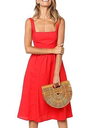 besser besondere Auswahl an wie kommt man Damen Kleider Sommer A-Linie Kleid Casual Elegant Ärmellos ...