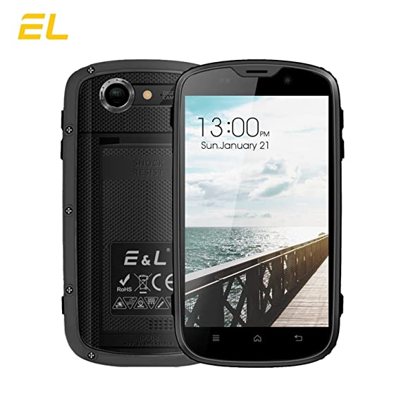 【US Shippment】 Rugged Unlocked Smartphone 4G LTE Android 6 0 EL W5S  Wateproof Dustproof Unlocked GPS 8GB+1GB RAM- 〖AT&T/T-Mobile 〗 (Grey)