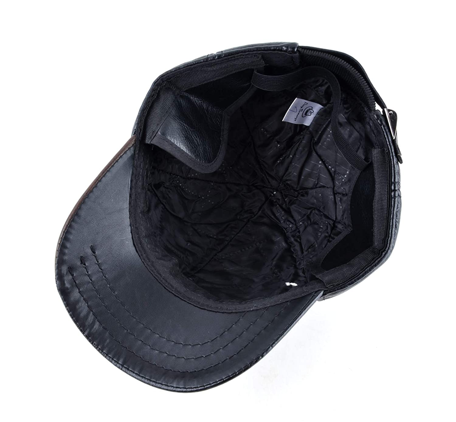 Mens Winter Leather Cap Warm Patchwork dad hat Baseball caps with Ear Flaps Russia Adjustable Snapback Hats