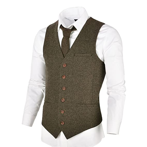 1950s Men's Clothing VOBOOM Mens Slim Fit Herringbone Tweed Suits Vest Premium Wool Blend Waistcoat $56.99 AT vintagedancer.com