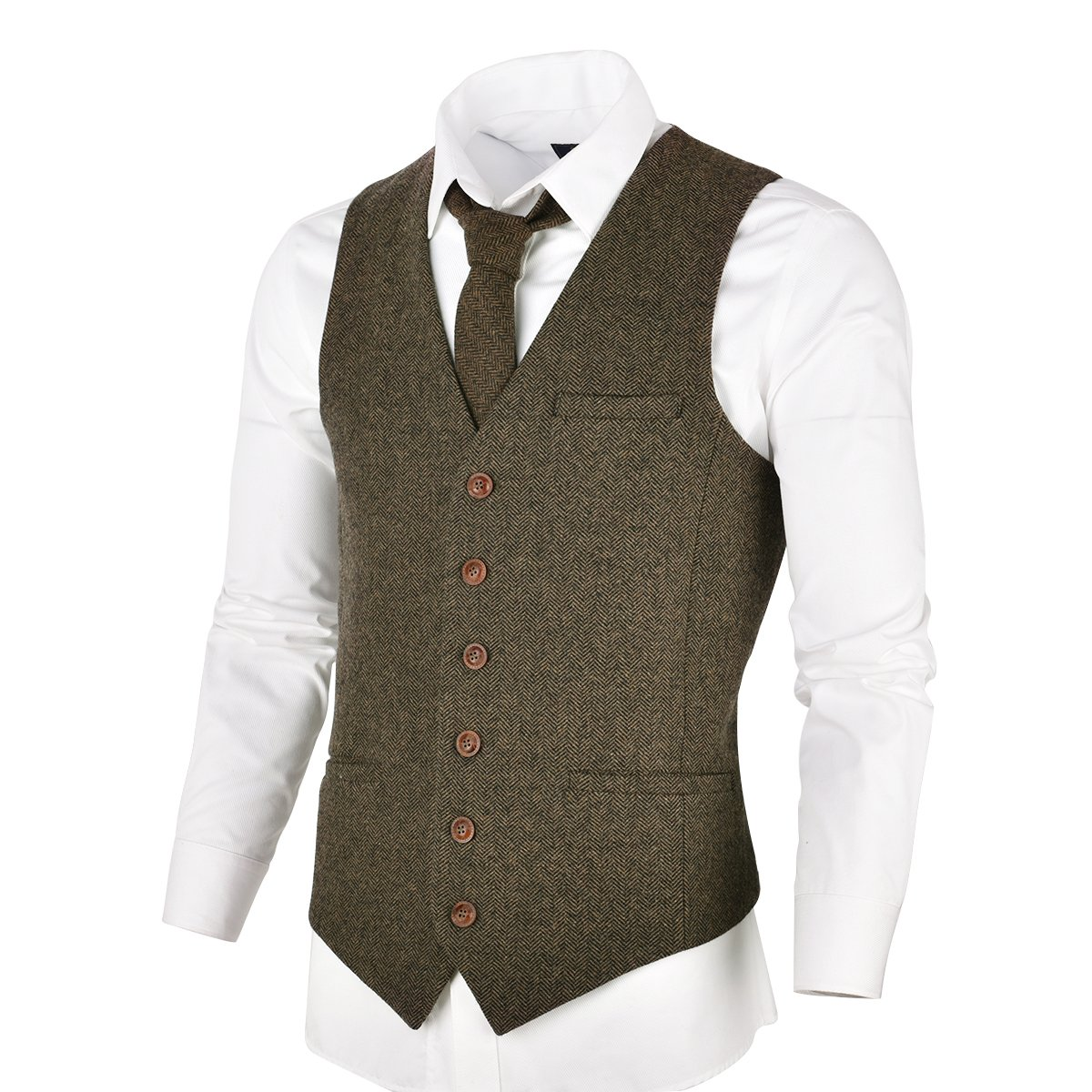 VOBOOM Men's Slim Fit Herringbone Tweed Suits Vest Premium Wool Blend Waistcoat (Khaki, M)