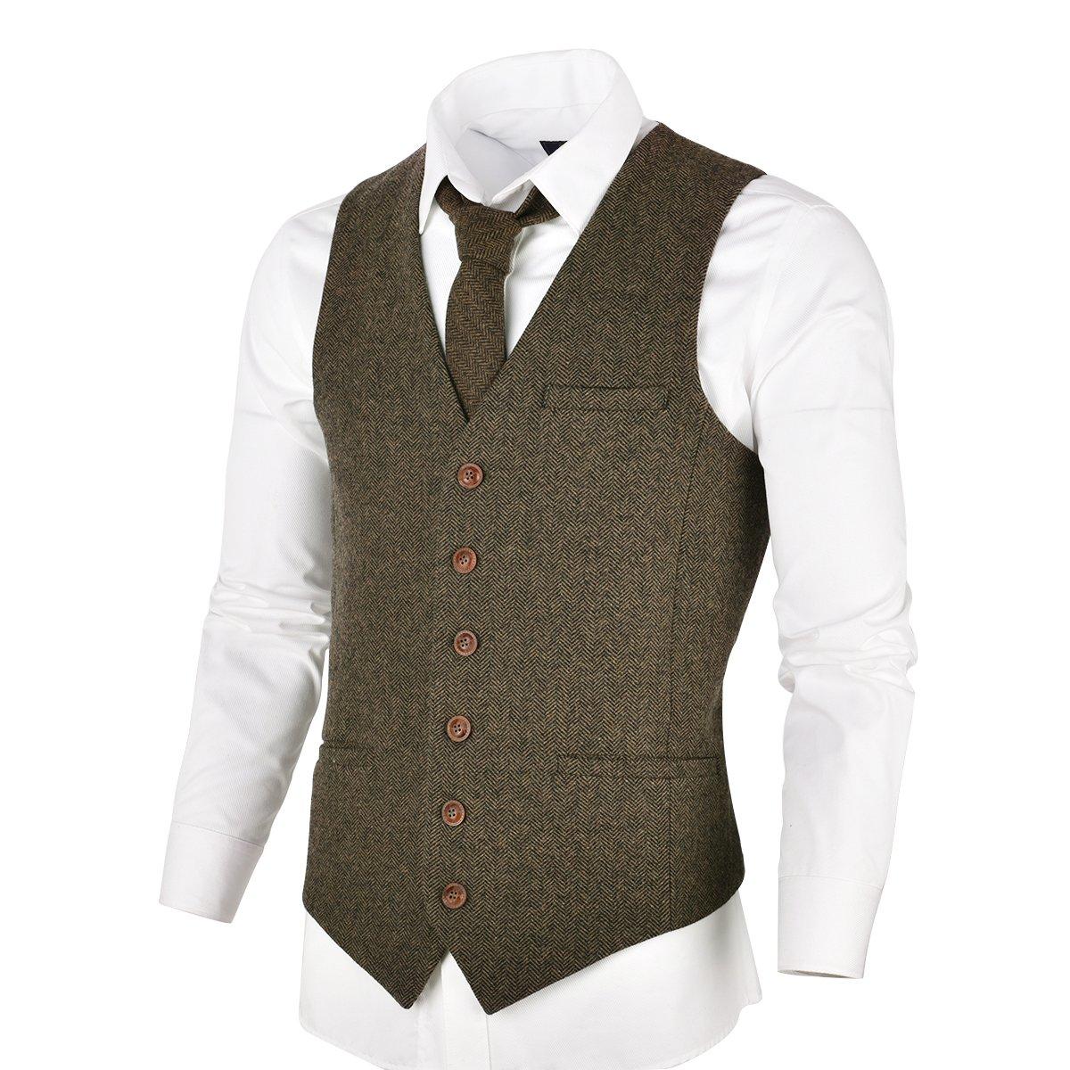 VOBOOM Men's Slim Fit Herringbone Tweed Suits Vest Premium Wool Blend Waistcoat (Khaki, L)