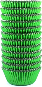 Eoonfirst Mini Foil Metallic Cupcake Liners Muffin Paper Baking Cups 300 Pcs (Green)