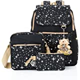 Hotrose 3x Girl School BagsTravel Canvas Rucksack Backpack School Shoulder Bag Crossbody Messenger Bag