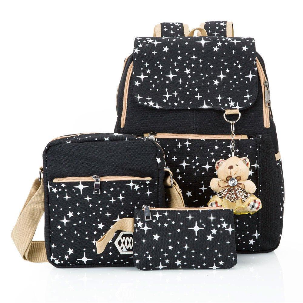 Hotrose 3X Girl School Bags Travel Canvas Rucksack Backpack School Shoulder  Bag Cross Body Messenger Bag (Black)  Amazon.co.uk  Luggage 02ad43e7974ce
