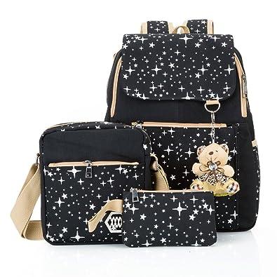 c58944d6bd94 Hotrose 3x Girl School Bags Travel Canvas Rucksack Backpack School Shoulder  Bag Crossbody Messenger Bag