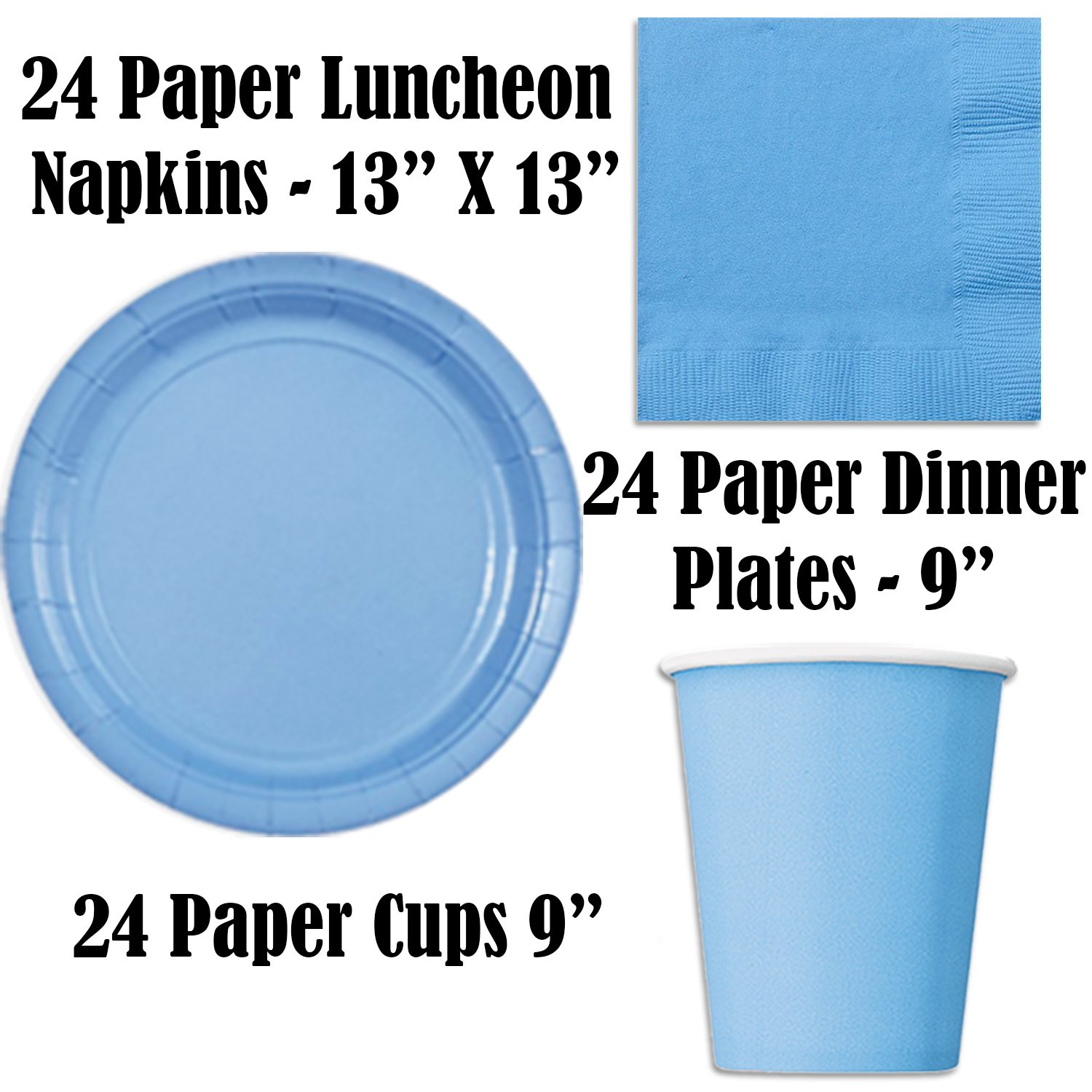 Paper Tableware Set for 24 - Light Blue & Blue - Dinner and Dessert Plates, Cups, Napkins, Cutlery (Spoons, Forks, Knives), and Tablecloths - Full Two-Tone Party Supplies Pack by HeroFiber (Image #2)