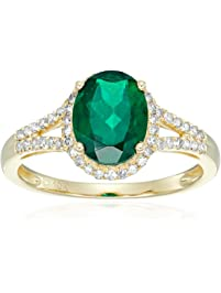 10k Yellow Gold Created Emerald and Diamond Oval Halo Engagement Ring (1/5cttw, H-I Color, I1-I2 Clarity), Size 7