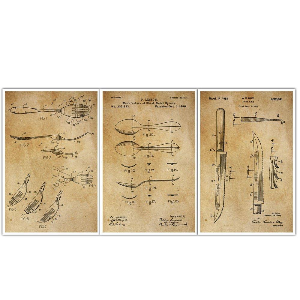 Amazon.com: Kitchen, Culinary, Fork, Spoon, Knife, Patent Wall Art ...