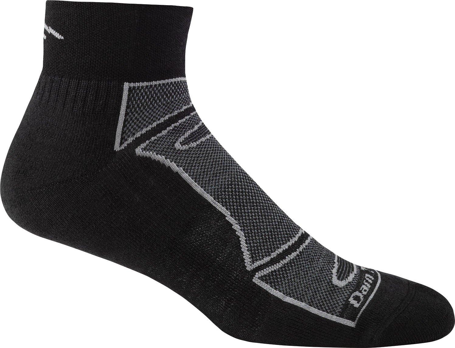 Darn Tough Men's Merino Wool 1/4 Sock Light Cushion - 6 Pack Special Offer, Black/Gray, Large