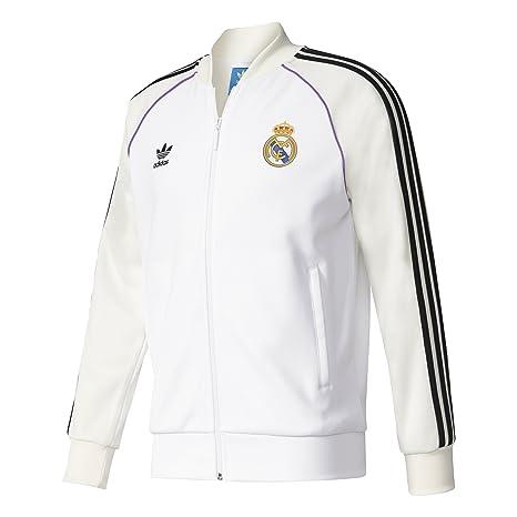 Adidas TT Sudadera Línea Real Madrid CF, Hombre, Blanco (Blanco/Casbla)