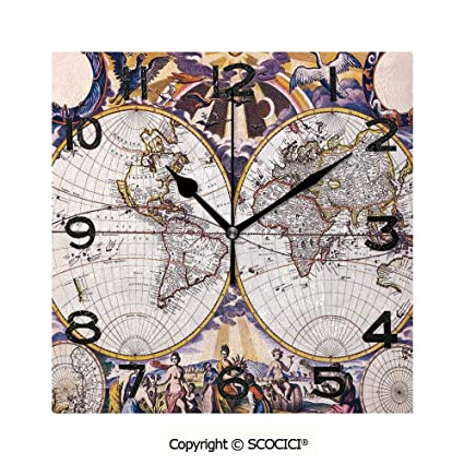 Buy SCOCICI 8 inch Square Clock Antique World Map with ...