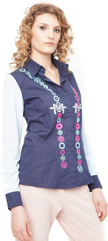 Morgan Visioli Fashion Camisa Mujer Engranajes con Tul: Amazon.es: Ropa y accesorios