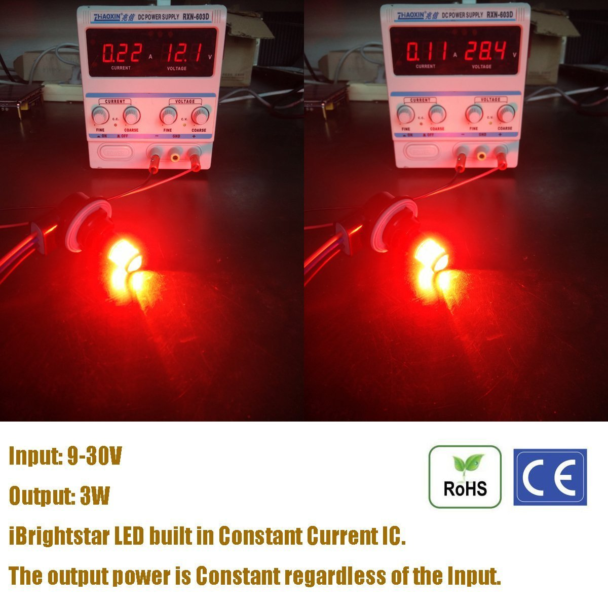 iBrightstar Newest 9-30V Super Bright Low Power Dual Brightness 3156 3157 3056 3057 LED Bulbs with Projector Replacement for Tail Brake Lights,Brilliant Red by iBrightstar (Image #4)
