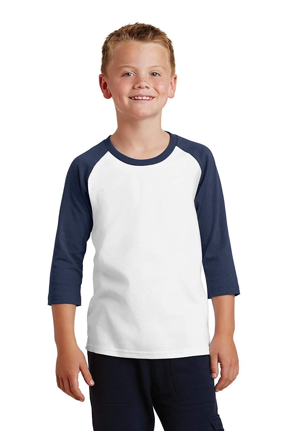 Port & Company® Youth Core Blend 3/4-Sleeve Raglan Tee. PC55YRS White/ Navy L