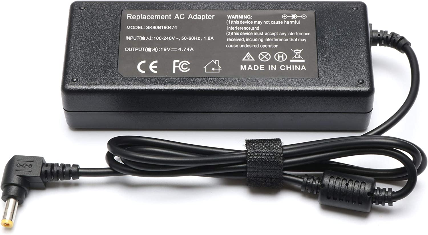 90W ASUS Laptop Charger Replacement for ASUS u56e k53e q550l k55a k52f k501u a53e n56v r510c x54c x551c a55a k55vd a53s a54c k55n n56dp x52f n56vj u50f k53s k53sv AC Adapter Power Supply Cord