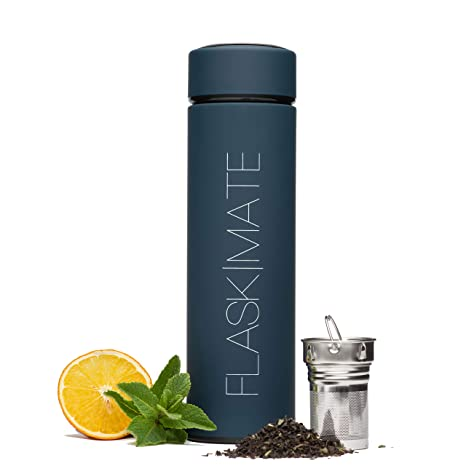 Flask|Mate Multi Functional Travel Mug   Hot Coffee & Tea Infuser Bottle   Insulated Cold Fruit Infused Flask   Matte Touch Double Wall Stainless Steel Thermos   17 Oz Leak Proof Water Tumbler (Blue) by Flask|Mate