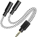 Headphone Splitter, Knitted 3.5mm Audio Splitter TRS 3-Pole Splitter Cable for Headphones Earphones Speakers -DuKabel (Zebra