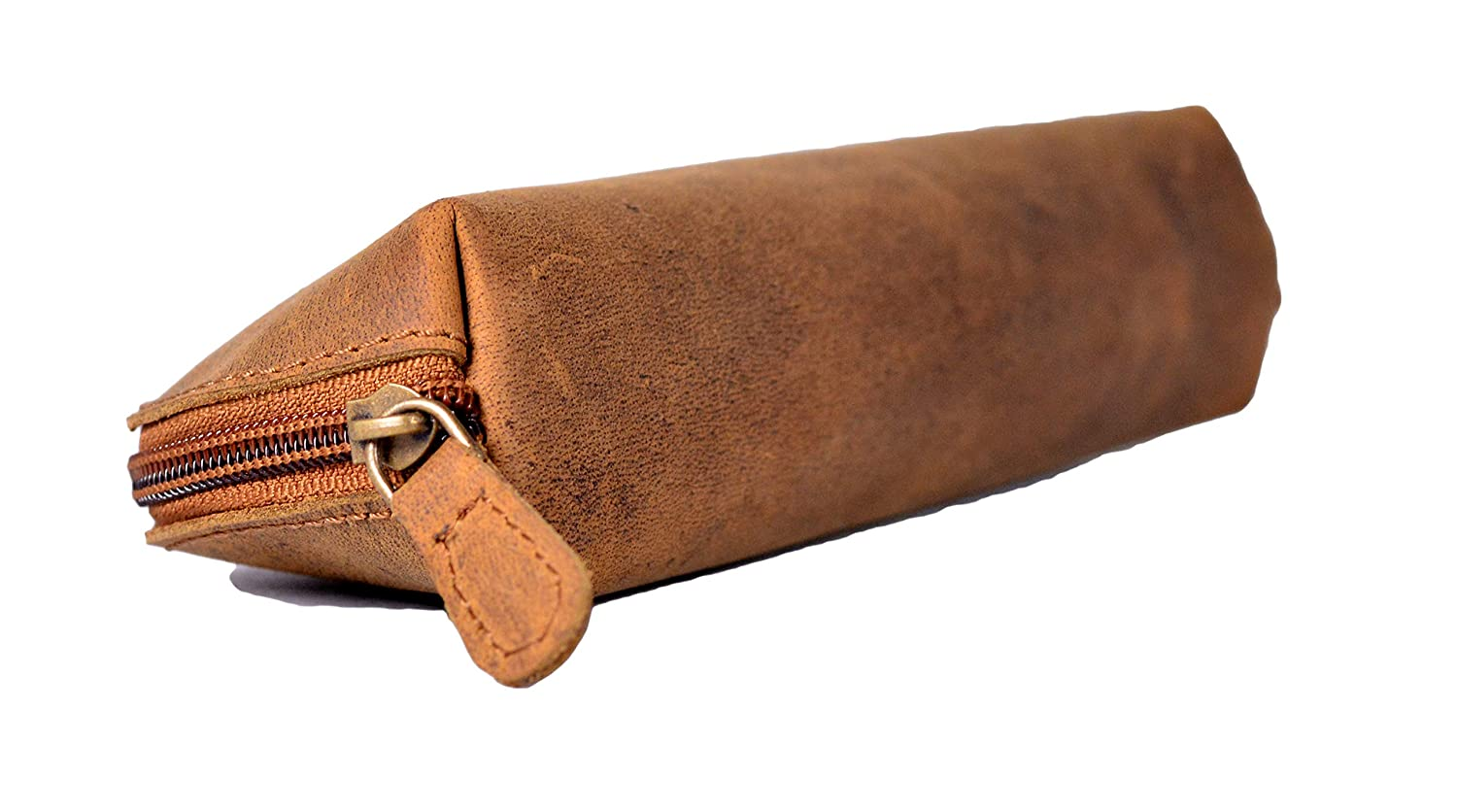 Color Brown JAYSS HIDES Stylish Handmade Retro Genuine Leather Soft Pouch for Pencil//Makeup//Mobile