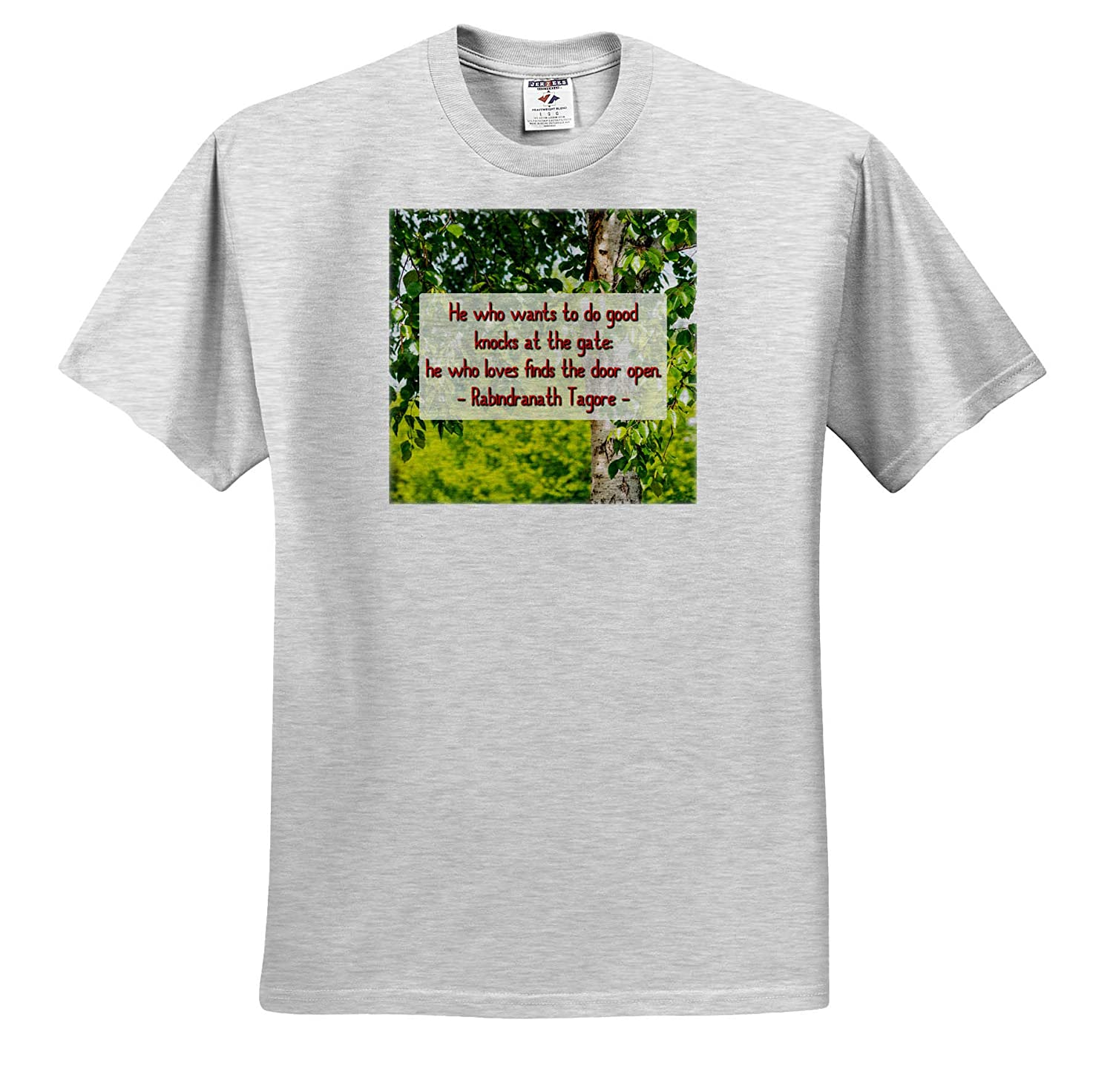 Quotes Love T-Shirts Green Birch Tree Rabindranath Tagore Quote He who Wants to do Good 3dRose Alexis Design