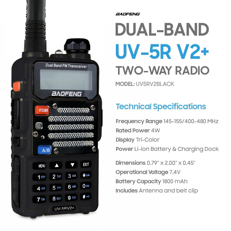 Baofeng Black UV-5R V2+ Plus (USA Warranty) Dual-Band 145-155/400-480 MHz FM Ham Two-way Radio, Improved Stronger Case, Enhanced Features by Baofeng Radio US (Image #5)