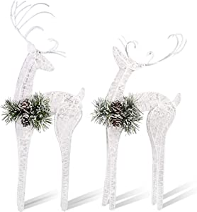ZHANYIGY 2pc Set White Pinecone Rattan Thread String Christmas Reindeer Figurine Table Desk Decorations Glittering Xmas Holiday Party Supply