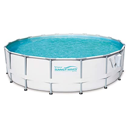 Summer Waves Elite 16\' Ft. Metal Frame Above Ground Pool Set with Filter  Pump