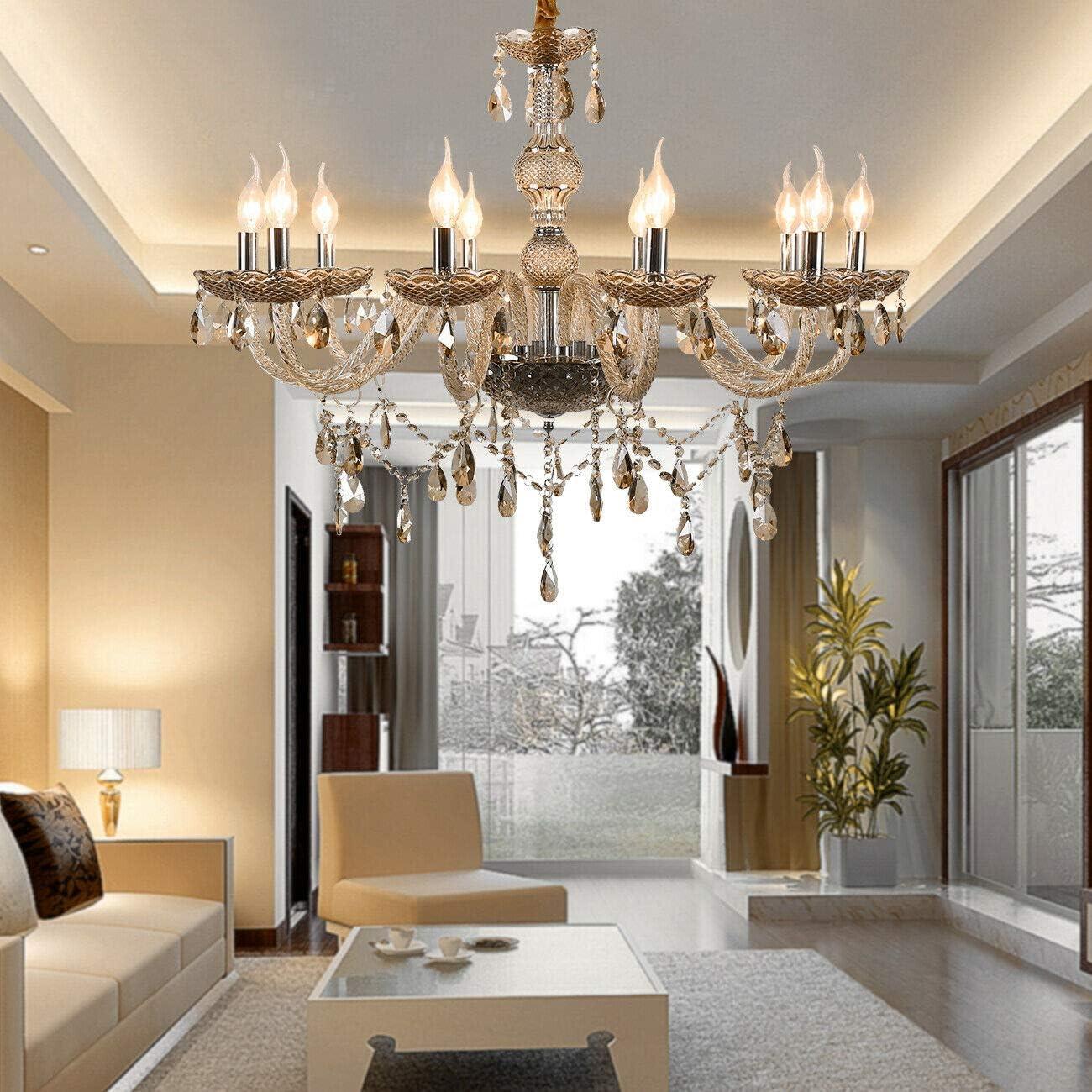 Samger 10 Arm Chandelier K9 Cristal Lámpara de techo E12 Lámpara colgante Color cognac para la sala de estar Dormitorio Entrada en el pasillo: Amazon.es: Iluminación
