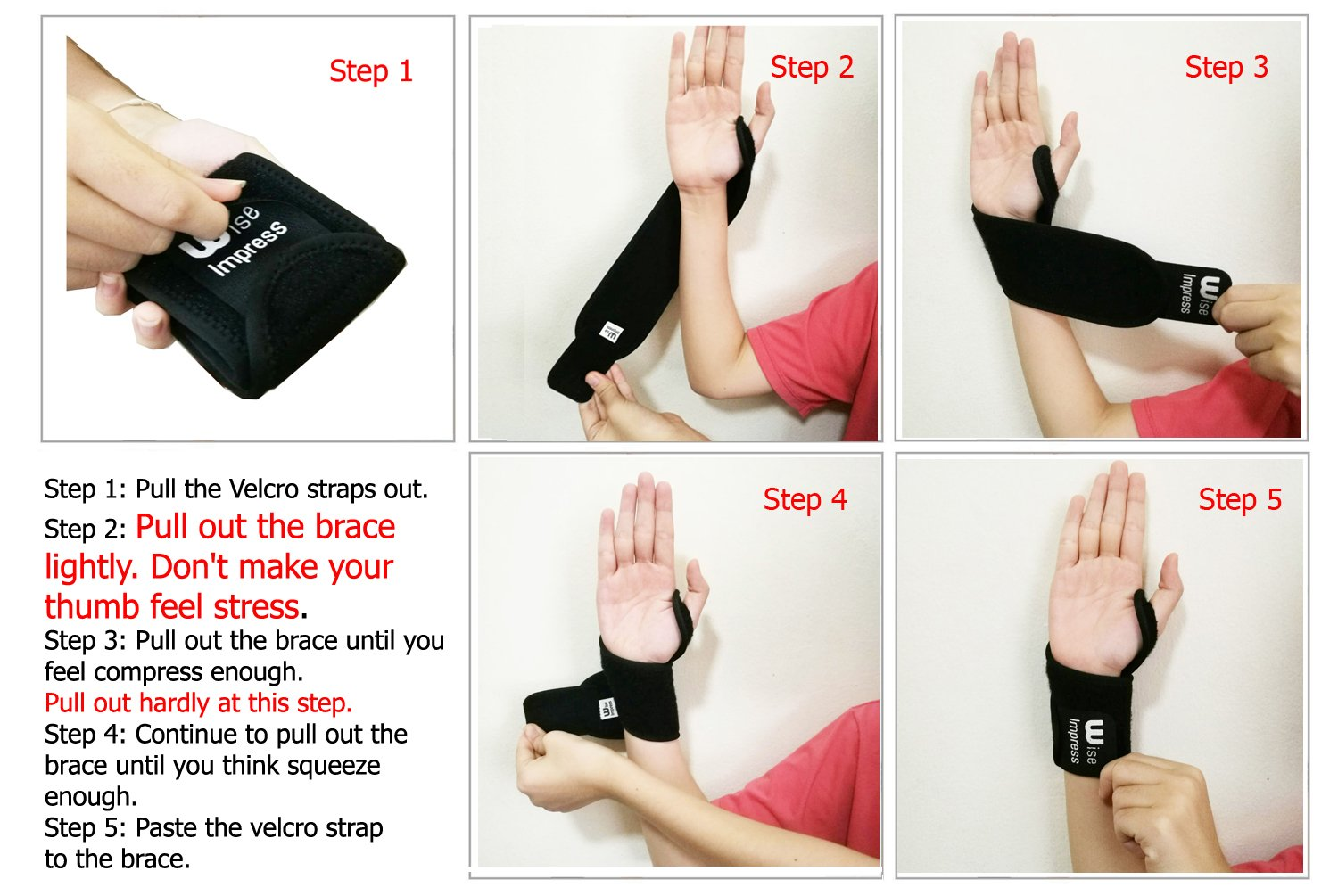 Wrist Wraps Brace Support For Carpal Tunnel Arthritis - Compression Braces Stabilizer - For Men Women Kids - Left And Right Hand - One Hand Adjustable - Best For Weight Lifting Bowling Workout (Black) by Wise Impress (Image #5)