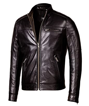 cf87770ebaa9c Corbani Designer Biker Black Leather Jacket – Mens Genuine Leather Jackets ( Small