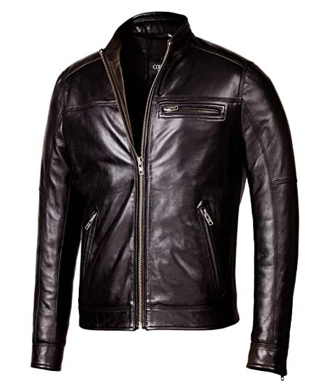 b7d8af21e6cd3 Corbani Designer Biker Black Leather Jacket - Mens Genuine Leather Jackets  at Amazon Men s Clothing store